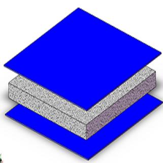 Anima e pannello termoregolatore per la realizzazione e/o la schermatura di elementi strutturali, in particolare di macchine  di lavorazione, controllo e misura