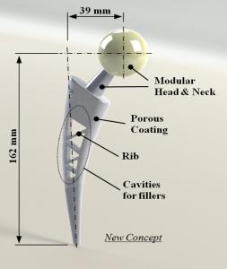 Stelo femorale per protesi d'anca