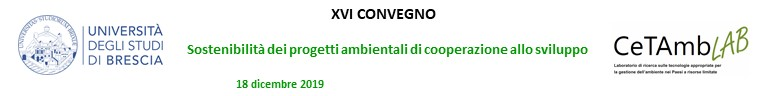 XVI Convegno - Sostenibilita' dei progetti ambientali di cooperazione allo sviluppo