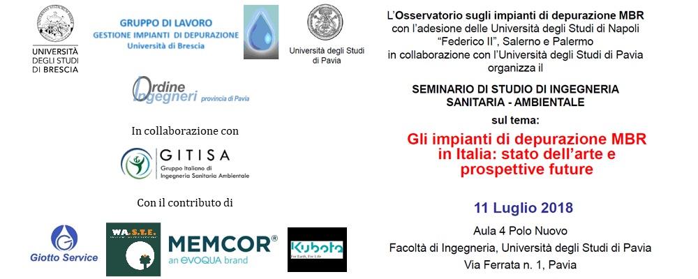 Seminario di studio di Ingegneria Sanitaria-Ambientale - Gli impianti di depurazione MBR in Italia: stato dell'arte e prospettive future