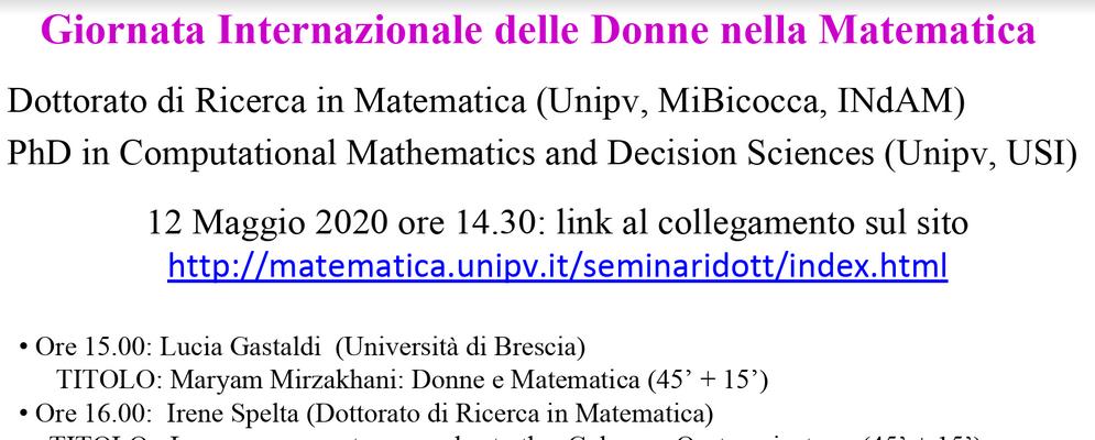 May 12 - Giornata Internazionale delle Donne nella Matematica
